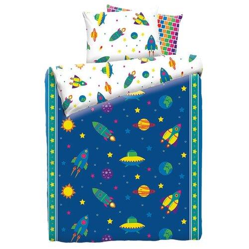 цена на Постельное белье 1.5-спальное Mona Liza Kids Космос, бязь синий/белый