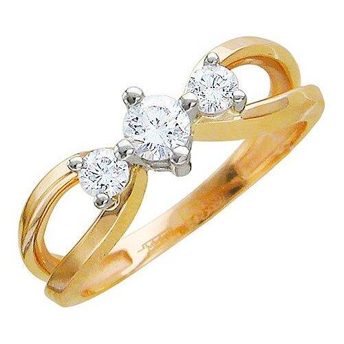 Эстет Кольцо с 3 бриллиантами из комбинированного золота 01К665526, размер 18.5 фото