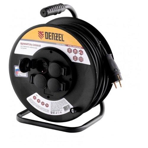Denzel Удлинитель силовой на стальной катушке, КГ 3х1,5 20 м, 4 розетки с крышкой, IP40, 16 А, серия УХз16 1208470 brennenstuhl удлинитель на катушке garant 40 м прорезинный кабель cablepilot
