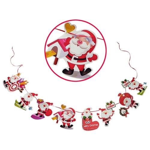 Гирлянда Волшебная страна Веселый Дед Мороз 300 см, белый/красный волшебная страна световое панно дед мороз на упряжке 20 ламп 44 5х24 см волшебная страна