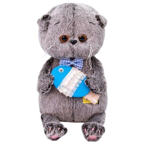 Купить Мягкая игрушка Basik&Co Кот Басик baby с рыбкой 20 см, Мягкие игрушки