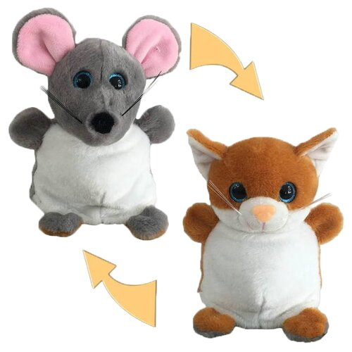 Мягкая игрушка Junfa Toys Вывернушка Мышка-Кошка 16 см
