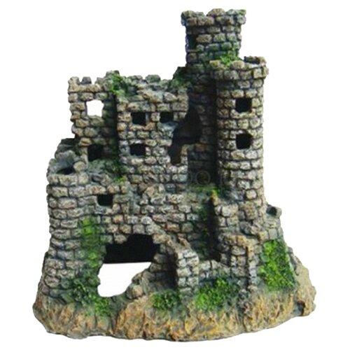 Грот BARBUS Замок Decor 007 23x22x15.5 см серый/зеленый