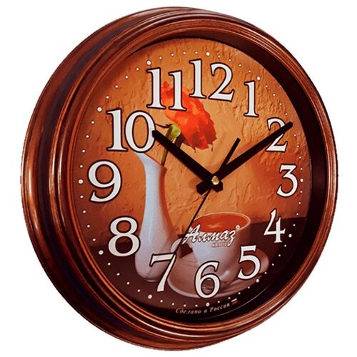 Часы настенные кварцевые Алмаз A54 коричневый/бежевый часы настенные кварцевые алмаз p34 бежевый белый