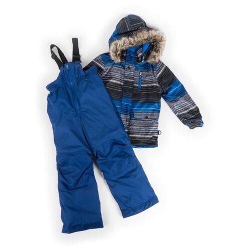 Купить Комплект с полукомбинезоном Buki F19M701EG размер 96, синий/черный/серый, Комплекты верхней одежды