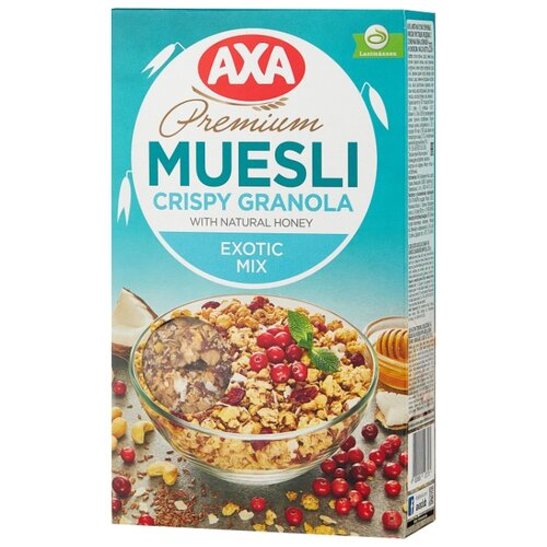Гранола AXA с семенами льна, кокосом и клюквой, коробка, 250 г мюсли axa медовые с фруктами и орехами 250 гр
