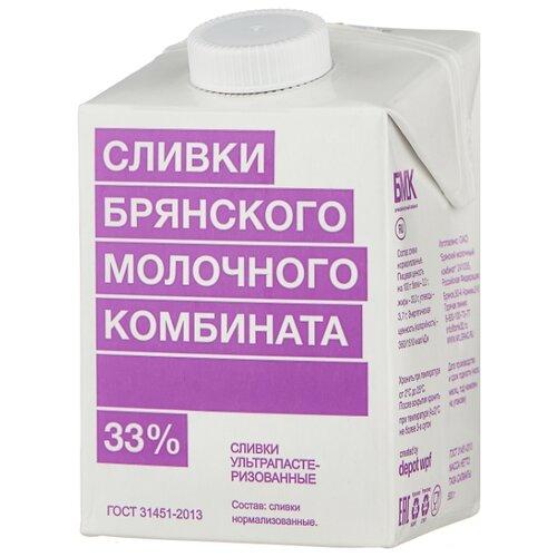 Сливки Брянский Молочный Комбинат ультрапастеризованные 33%, 500 г молоко брянский молочный комбинат ультрапастеризованное 1 5