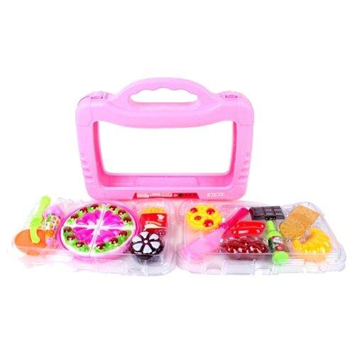 Набор продуктов с посудой Наша игрушка 76113 розовый/разноцветный набор продуктов с посудой наша игрушка в корзинке xs16003b голубой розовый белый