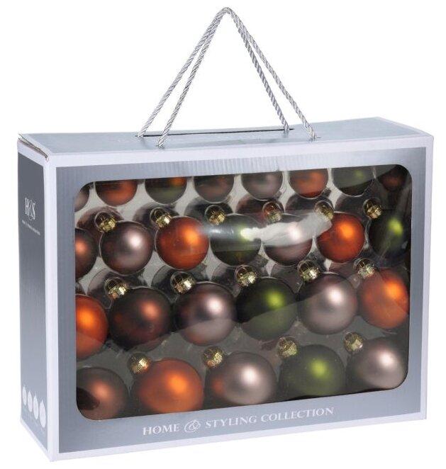 Koopman International, Набор стеклянных ёлочных шаров праздничный аккорд - осенние чары, 52 шара разных диаметров ABR399080