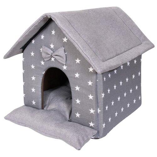 Домик для собак и кошек HutPets LittleHouse 45х40х45 см Gray Stars