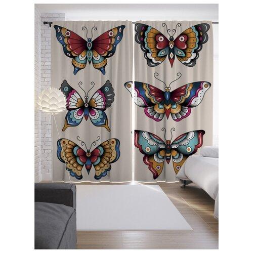 Портьеры JoyArty Узорчатые бабочки на ленте 265 см (p-13599)