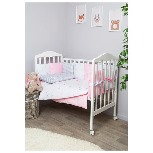 Купить Сонный Гномик комплект с бортиками-подушками Стрекоза-Егоза (7 предметов) нежно-розовый, Постельное белье и комплекты