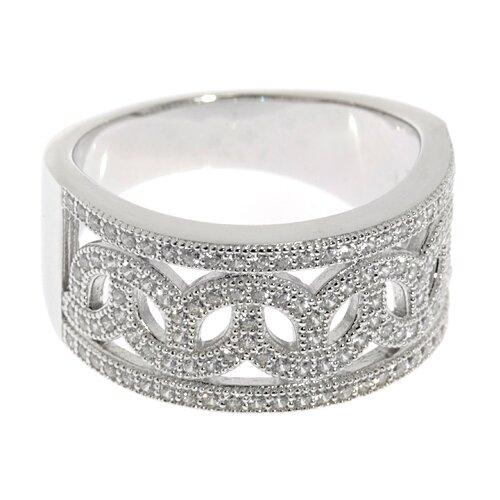 ELEMENT47 Широкое ювелирное кольцо из серебра 925 пробы с кубическим цирконием SL63009A1_001_WG, размер 17