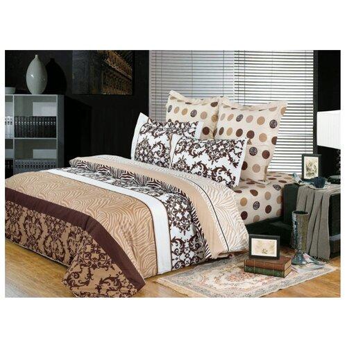 цена Постельное белье 2-спальное СайлиД B-118, сатин коричневый/белый онлайн в 2017 году