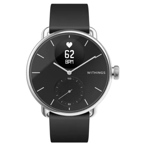 Умные часы Withings ScanWatch 38мм with silicone band, black/silver/black
