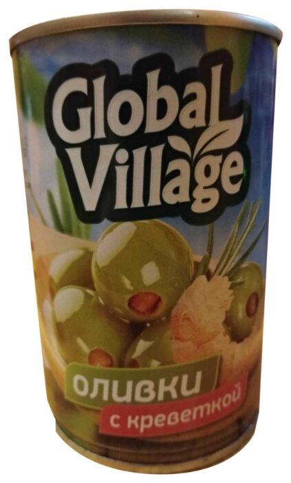 Global Village Оливки зеленые фаршированные креветкой пастеризованные, жестяная банка 314 г
