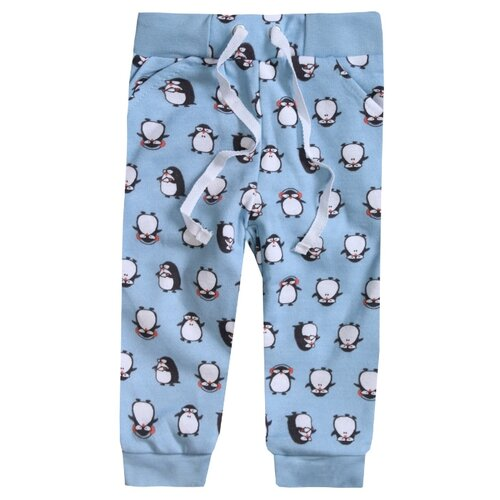 Купить Брюки KotMarKot Милые пингвины 72210 размер 92, голубой, Брюки и шорты