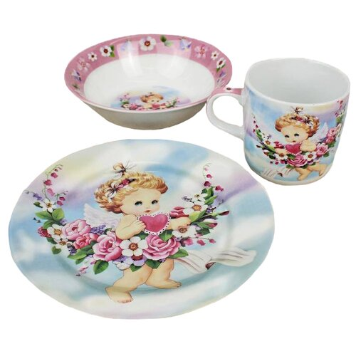 Набор для завтрака Доляна Ангелок, 1 персона розовый/голубой