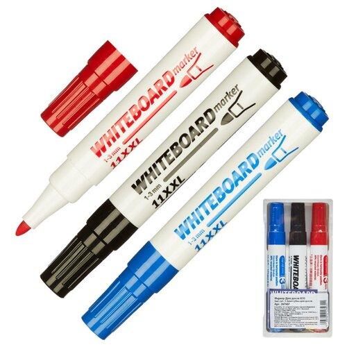 Набор маркеров Для досок ICO 3 шт в наборе, 1-3 мм + губка для досок