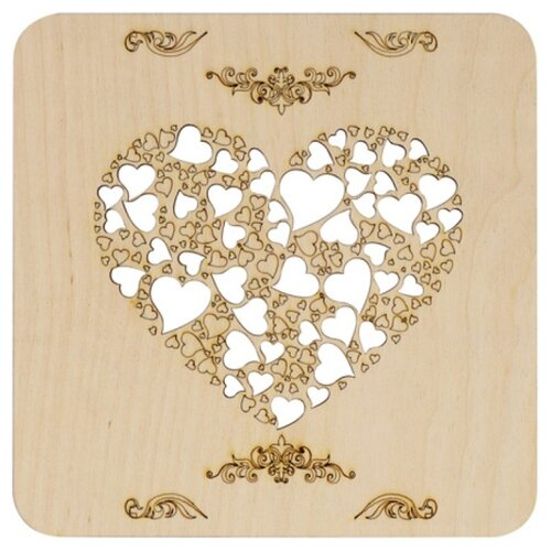 Astra & Craft Деревянная заготовка подставка под горячее Сердце (L-1071)