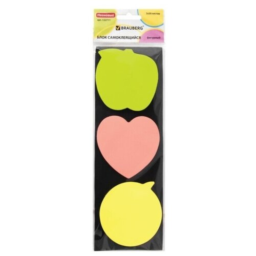Купить BRAUBERG Блок самоклеящийся фигурный, неоновый 3 цвета х 50 листов (122711) зеленый/розовый/желтый, Бумага для заметок