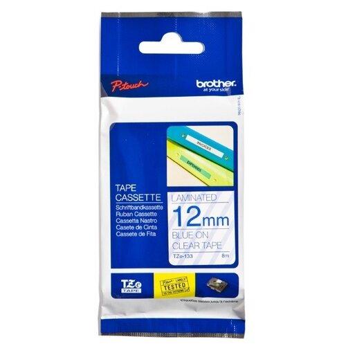 Фото - TZe-133 Label Roll лента для наклеек Brother, 8 м, синий на прозрачном лента m21 250 430 черный на прозрачном
