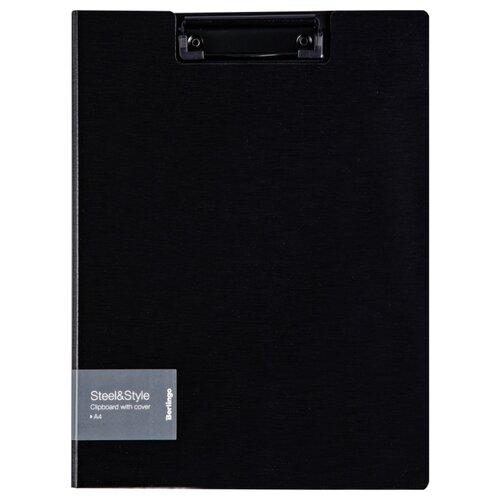 Купить Berlingo Папка-планшет с зажимом с крышкой Steel&Style A4, пластик черный, Файлы и папки