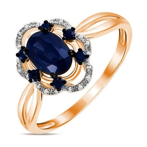 ЛУКАС Кольцо с сапфирами и бриллиантами из красного золота R01-D-RR03061AKS-R17, размер 18 кольцо из золота r01 d r306443sap