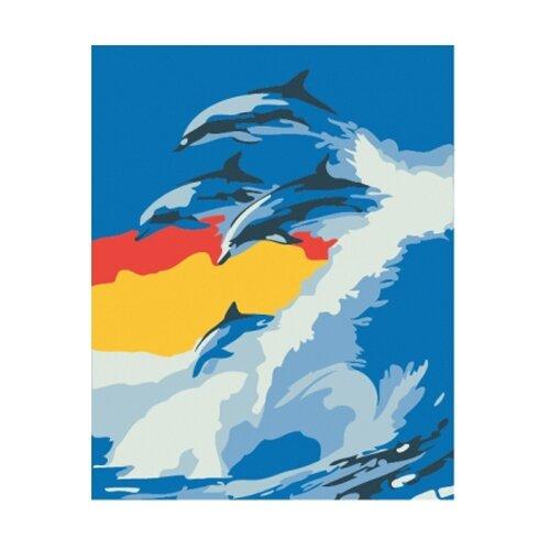 Рыжий кот Картина по номерам Дельфины на волне 30х40 см (KTL733) рыжий кот картина по номерам маленький ангелочек 30х40 см x 6161