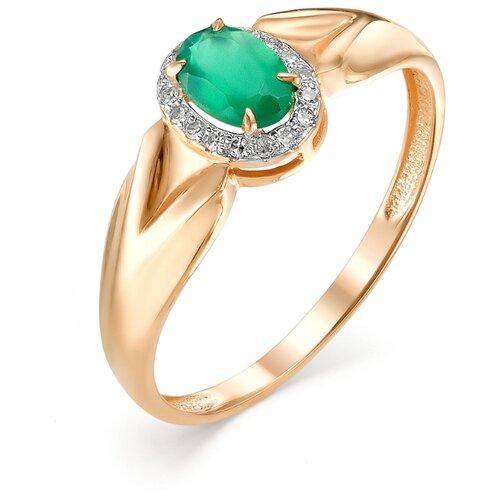АЛЬКОР Кольцо с агатом и бриллиантами из красного золота 11975-131, размер 18 фото