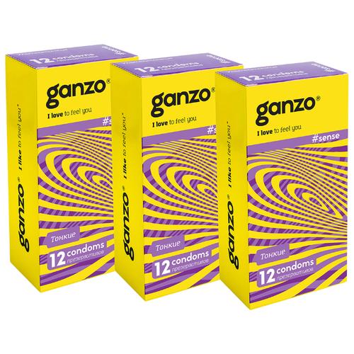 Презервативы Ganzo Sense (3 уп. по 12 шт.) презервативы ganzo juice 12 шт