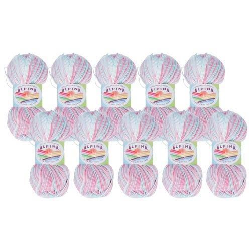 Купить Пряжа Alpina Katrin, 100 % хлопок, 50 г, 140 м, 10 шт., №6054 розовый-св.голубой-белый