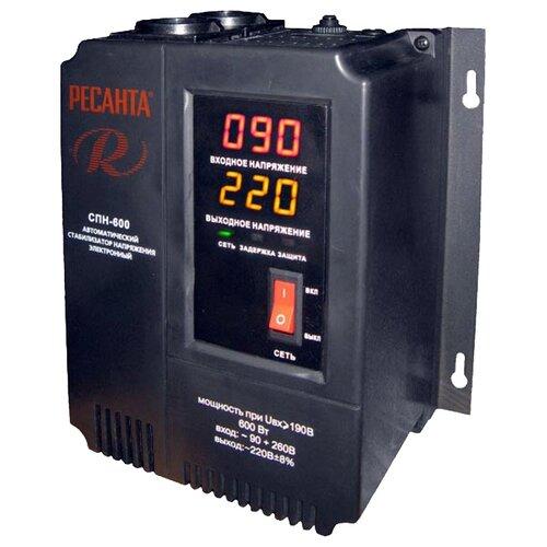 Стабилизатор напряжения однофазный РЕСАНТА СПН-600 (0.6 кВт) черный стабилизатор напряжения однофазный solaris vsa 500 0 3 квт черный