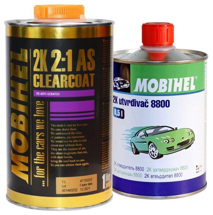 Комплект (автомобильный лак, отвердитель для лака) Mobihel 2:1 Anti Scratch (1 л), 2К 8800 (0,5 л)