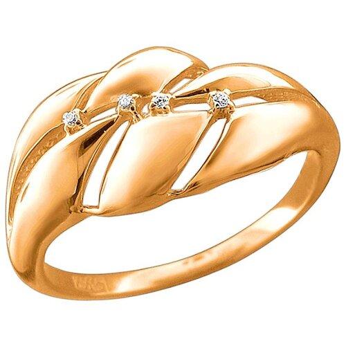 Эстет Кольцо с 4 фианитами из красного золота 01К1113244, размер 17.5 ЭСТЕТ