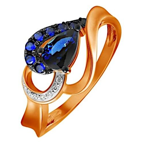 ЛУКАС Кольцо с сапфирами и бриллиантами из красного золота R01-D-R312761SAP, размер 16.5 фото