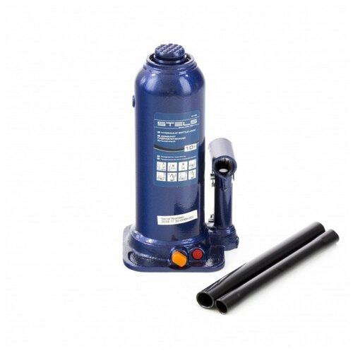 Домкрат бутылочный гидравлический Stels 51166 (10 т) синий