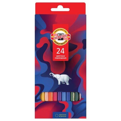 KOH-I-NOOR Карандаши цветные Элефант, 24 цвета (3554024036KS) карандаши цветные koh i noor birds 3553018001ksru шестигран 18цв коробка европод