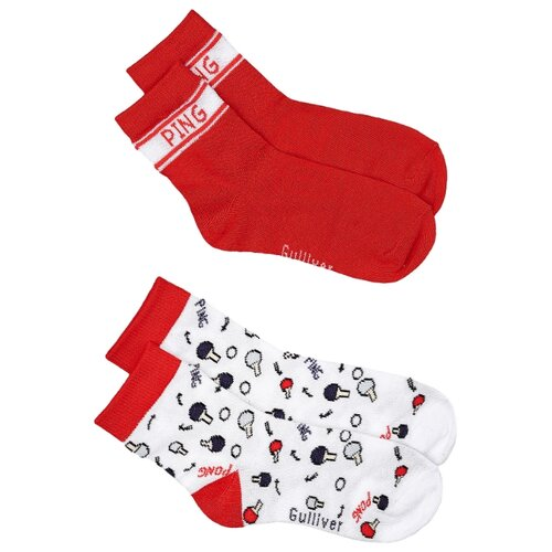 Носки Gulliver Baby комплект 2 пары размер 18-20, красный/белый