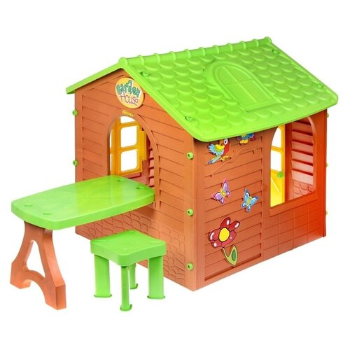 Фото - Домик Mochtoys Со столом 11045 коричневый/зеленый mochtoys раскраска картонный домик 10721