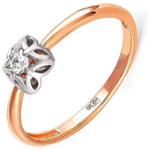 KABAROVSKY Кольцо с 1 бриллиантом из красного золота 11-0792-1000, размер 17.5