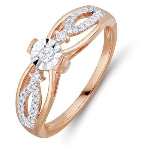 Бронницкий Ювелир Кольцо из красного золота R01-D-R301432DIA-R17, размер 17 бронницкий ювелир кольцо из красного золота r01 d 1983089ab r17 размер 17