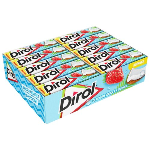 Жевательная резинка Dirol Cadbury со вкусом кокоса и клубники без сахара 30 шт