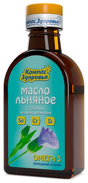 Компас Здоровья Масло льняное с селеном, хромом, кремнием
