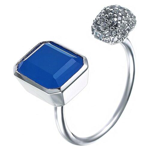 цена на JV Кольцо с халцедоном и фианитами из серебра S5141R-KO-CH-001-WG, размер 18