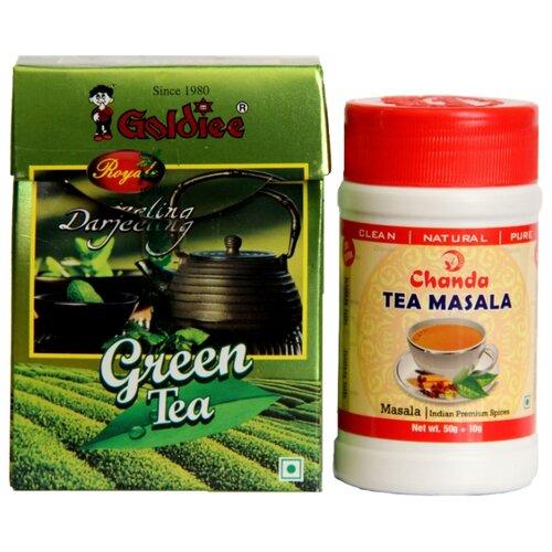 Чай зеленый Goldiee Дарджилинг Darjeeling Green Tea и приправа для чая Chanda Tea Masala, набор