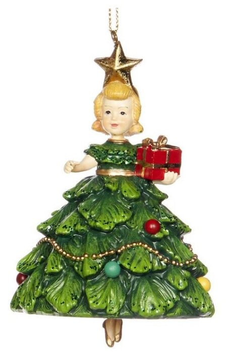Goodwill Елочная игрушка Девочка Елочка с гирляндой 10 см, подвеска D 48092