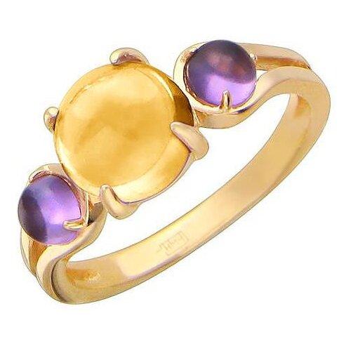 Эстет Кольцо с цитрином и аметистами из красного золота 01К316199-2, размер 16.5 эстет кольцо с 2 аметистами из красного золота 01к317889 1 размер 16 5