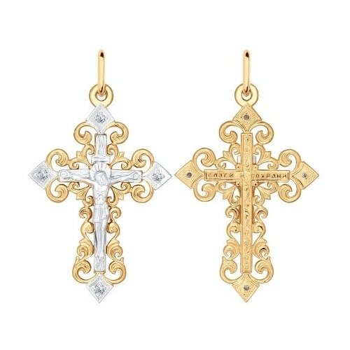 SOKOLOV Крест из комбинированного золота с бриллиантами 1120010