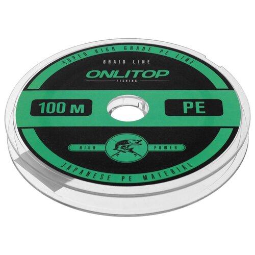 Плетеный шнур Onlitop Braid PE зелeный 0.16 мм 100 м